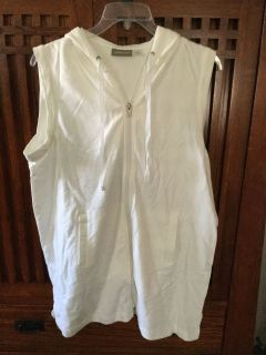 White Hooded Zippered Swim Suit Cover Up XL