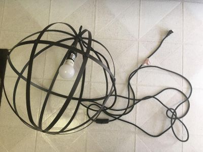 Very cool metal round ball lamp with long cord and on and off switch 18 inches round works