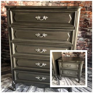 Elegant set tall dresser and nightstand refinished solid wood