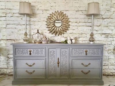 Stunning details on this newly refurbished dresser/tv console/buffet/entertainment piece. Lovely color!