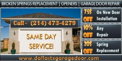 Garage Door Broken Spring Repair Service starting only $25.95 in Dallas