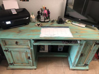 Rustic solid wood painted turquoise computer desk