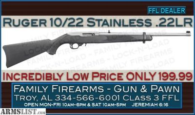 For Sale: Ruger 10/22 .22LR Synthetic and Stainless at only 199.99