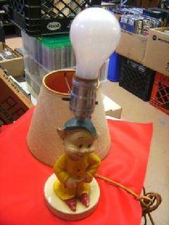 $90 1938 Walt Disney Dopey table lamp