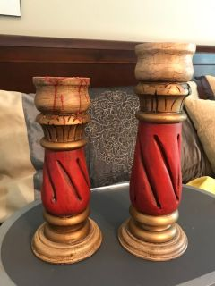 Hand Carved Candle Holders