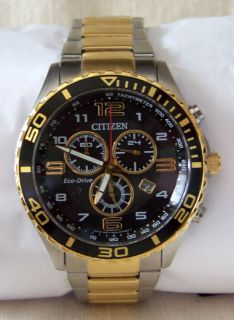 NEW Citizen Eco-drive Mens Two-Tone Black Dial Chronograph Watch