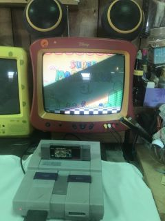 SUPPER NINTENDO,,WORKS GREAT,,TWO CONTROLS,,5 games