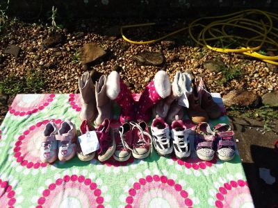 9 pairs of size 7 toddler shoes and boots $3-$18 or $70 for all