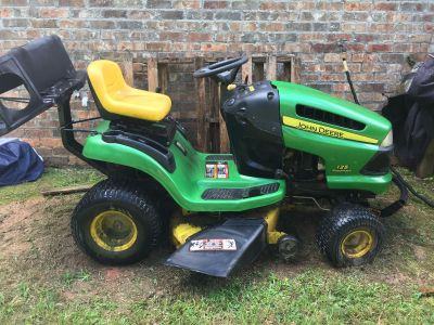 John deer riding lawn mower with bagging attachments
