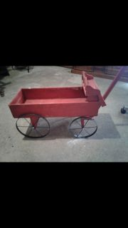 Red wooden wagon. Cross posted