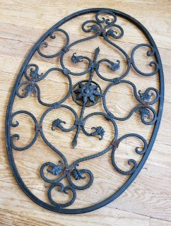 """Scroll Wall Decor Metal Grille Panel Floral Iron 24"""" x 15"""""""