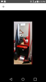Salon mirror station with small drawer