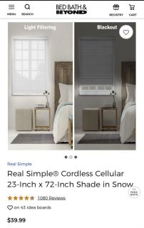 Real Simple Cordless Cellular 23-Inch x 72-Inch Shade in Snow