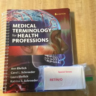 Medical terminology book and flash cards