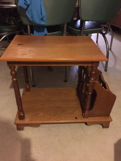 Vintage side table with magazine rack