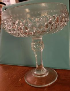 Compote Dish, No Lid Diamond Point Clear, by INDIANA GLASS