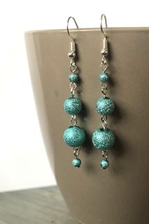Blue Sparkle Stacked Earrings