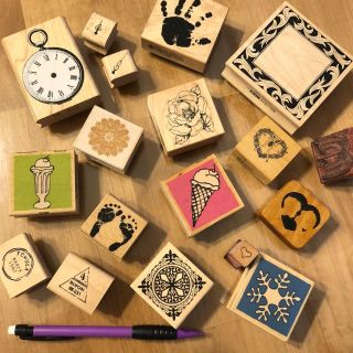 Lot of 18 Wood-mounted Rubber stamps