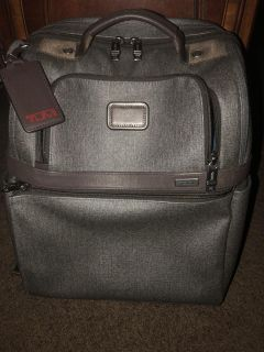 Official TUMI ALFA 2 BACKPACK IN EARL GREY WITH BROWN TRIM AND LEATHER TAGS