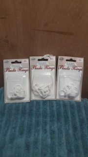 NIP 3 pkgs plastic rings for Cafe curtains and tiebacks -- 42 total