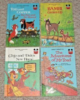 RARE Lot 4 Vintage 1979 81 Walt Disney Books Mr Toad Tod Copper Chip Dale Bambi