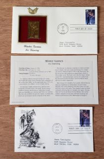 First day issue stamps with a 22K replica and information card