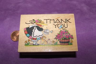 Wooden Rubber Stamp: Thank You