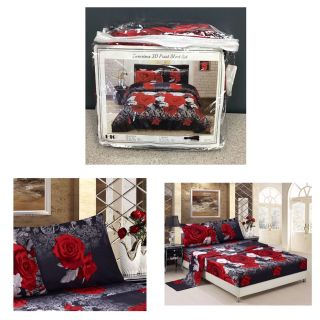 3D Bed Sheet Set Queen -4 Piece 3D Red and White Rose Promise Printed Sheet Set Queen Size