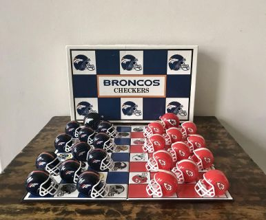 Play Football Checkers, Broncos vs Chiefs, 11 regular size helmets and one bigger one for each team. Plus instructions.