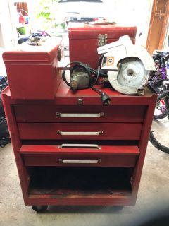 Free: Three drawer roller tool box, two hand tool boxes, 3/8 drill, skill saw. All well used.