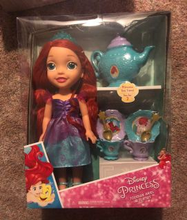 NEW ARIEL TODDLER DOLL WITH TEA SET