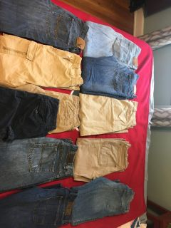 Six pairs of jeans. Three khakis. Two pairs of shorts
