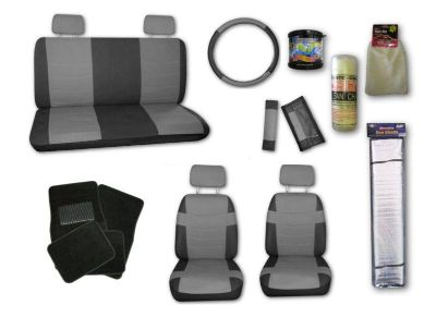 Purchase Faux Leather Grey Black Car Seat Covers Set and Black Floor Mats with Extras #C motorcycle in Hildale, Utah, US, for US $74.99