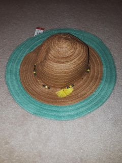 Brand new with tags - women's beach hat large style with accent beads and tassel