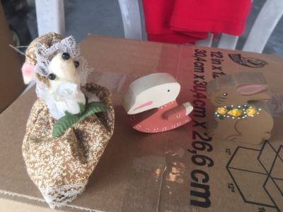 2 wooden easter bunny and rabbit + a mouse hand made