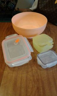 Different types and sizes of containers, one large mixing bowl