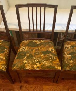 Set of 6 vintage floral dining chairs