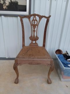 Beautiful carved chair solid wood needs cushion firm on price