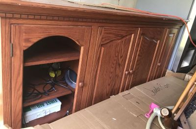 Large Solid Wood Entertainment Center