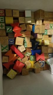 Wooden building and letter blocks