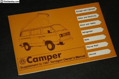 NOS 1981 SUPPLEMENT Camper Vanagon Campmobile