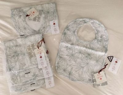 Kate Quinn Organics 2 bibs and 3 burp cloths