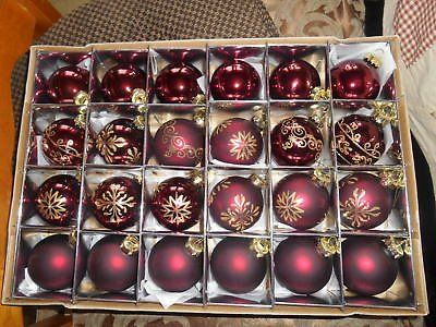 Pretty Red Burgundy and Gold Glitter Ornament Glass Balls! Package of 24