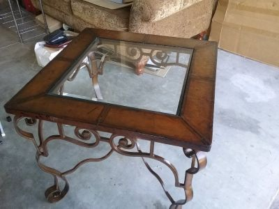 Wrought iron & glass end coffee table