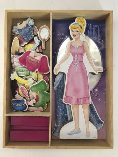 Disney s Cinderella Wooden Dress up Doll! Good Condition! Includes base & Box! Over 25 pieces!