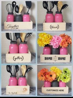 Mason jar and box decor