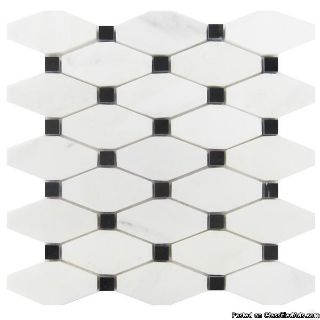 Buy China White With Black Dot Basket Weave Mosaic