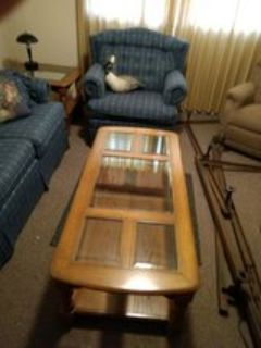 Farmhouse country Red oak living room set. couch, two chairs, glass solid red oak coffee table, ...
