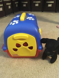 Dog Carrier and Black Dog Toy
