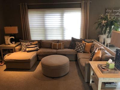 Sectional couch & storage ottoman